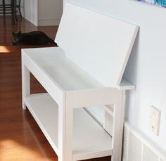 Learn how to build a simple flip-top storage console table! FREE plans and tutorial at Ana-White.com