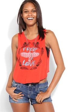 Deb Shops Deep Armhole Tank with Free Love Eagle Screen $9.75