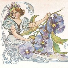 Art Nouveau French 'Pansy Flower Lady' Postcard c1900. This lovely rare early French postcard with an un-divided back dates to c1900 and features a