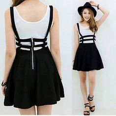 Black Lattice Cut Out Overall Skater Skirt Black Lattice Cut Out High Waisted Overalls Skater Skirt.  One size. Above knee length. No label on the inside because this is wholesale. This is really cute!  Please comment color below to order. Choies Skirts Circle & Skater