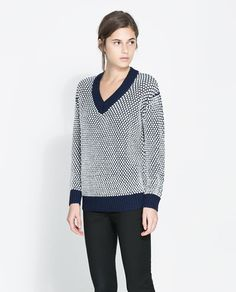 Image 2 of TWO-TONE OVERSIZE SWEATER from Zara