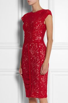 Nina Ricci Ruched Lace Dress in Red - Lyst Elegant Sophisticated, Fashion Beauty, Womens Fashion, Red Lace, Formal Dresses, Wedding Dresses, Casual Chic, Lady In Red, Lace Dress