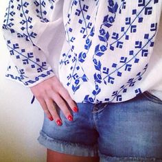 About today: Denim shorts and the ethnic handmade blouse with blue embroidery #byAnilu! ❤️ #bohemian #bohochic