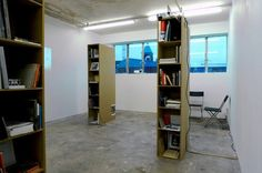 FormContent: , Installation view of the collection with bookshelves designed by Luca Frei