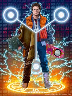 Back to the Future - Trilogy / Zurück in die Zukunft - Trilogie / Marty McFly Michael J Fox, Movies Showing, Movies And Tv Shows, Comics Illustration, Cinema Tv, Fan Art, Film Serie, Cultura Pop, Classic Movies