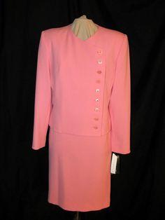 Sz 8 Harve Benard Skirt Suit Pink Straight Knee Length Side Button Jacket NWT #HarveBernardbyBernardHoltzman #SkirtSuit