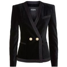 Balmain Black Velvet Double Button Short Blazer ($1,960) ❤ liked on Polyvore featuring outerwear, jackets, blazers, coats, balmain, black, balmain blazer, balmain jacket, formal jacket and velvet jacket