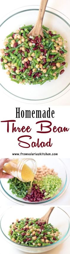 This fresh Homemade Three Bean Salad is so much tastier than the store bought variety. The dressing gives it a sweet, vinegary bite that is irresistibly good. ~ http://www.fromvalerieskitchen.com