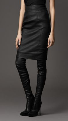 95924520c30 Burberry London Leather Pencil Skirt. This looks perfect.  want  Black  Leather Pencil