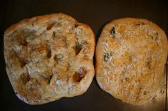 Flatbread On The Grill: Roasted Garlic & Rosemary, and Cheesy Jalapeño.
