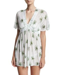 Bari+Palm+Tree+Printed+Coverup+Dress,+White/Green+by+Milly+at+Neiman+Marcus.