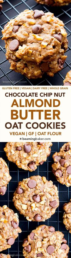 Vegan Almond Butter Chocolate Chip Walnut Oat Cookies (V, GF, DF): an easy recipe for chewy, crispy almond butter cookies deliciously made with whole ingredients. #Vegan #GlutenFree #OatFlour #DairyFree | BeamingBaker.com