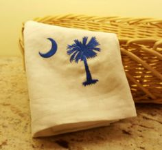 Embroidered Dish Towel, South Carolina Palmetto Tree and Moon Dish Towel, Ivory Linen Towel, SC State Flag Dish Towel, Dish Towel by RedbirdOriginals on Etsy