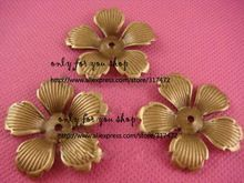 Бесплатные корабль!! 32 мм античная бронза пять лепестками flowersbeads cap филигрань штамповки Прокладку для ювелирных изделий(China (Mainland))