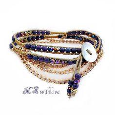 Golden Wrap Bracelet Bohemian Purple Wrap Bracelet by MSwithlove