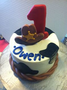 Cowboy themed 1st birthday smash cake