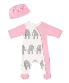 Love this Gray Elephant Footie Pajamas & Beanie - Infant by Rockingham Road on #zulily! #zulilyfinds