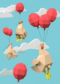 """We designed several postcards with our low-poly 3D characters to advertise our designer team Designdoppel and our 3D animation film """"Chicken Cube"""""""