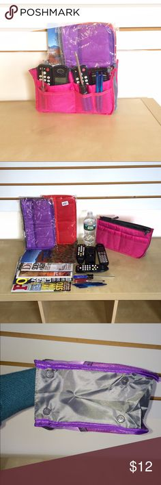 NWT 💕FUSCIA Handbag/ make up/ travel organizer💓 Use this 19 pocket organizer to  transfer your essentials from one handbag to another without skipping a beat. I have this in Purple♐️ bubblegum pink,💓 bright fuchsia💗 Baby  blue🔵 Lime green 💚 and rosy red🔴 Groupon Bags Cosmetic Bags & Cases