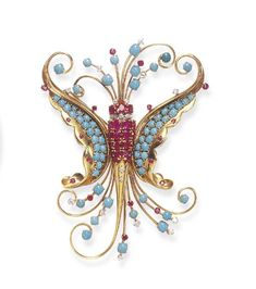 Retro Turquoise, Ruby and Diamond Brooch, Van Cleef & Arpels