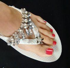 78837ed8b2ae Beach WEDDING SANDALS   wedding flip flops   bridal rhinestone shoes    rhinestone sandals   starfish