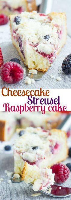 Cheesecake Streusel Raspberry Cake. The perfect start to a perfect day starts with this buttery tender cake, topped with a layer of cheesecake, a layer of berries and a layer of buttery almond streusel. My all time favorite recipe and I can't wait for you