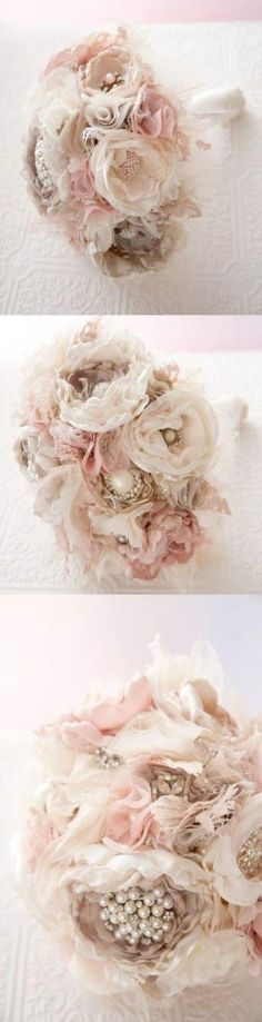 Hey babe, how about this bouquet?love the soft fabric flowers and pearl embellishments in this bouquet Wedding Decor, Our Wedding, Dream Wedding, Chic Wedding, Trendy Wedding, Wedding Simple, Table Wedding, Wedding Pins, Wedding Stuff
