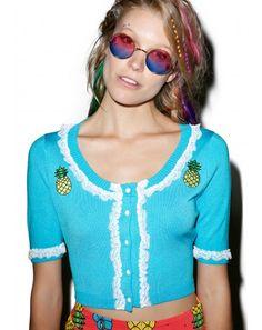 #DollsKill #lookbook #photoshoot #model #SourpussClothing #bella #pina #colada #cardigan #blue #crop #sweater #top #pineapple #white #lace #ruffle #cute #girly