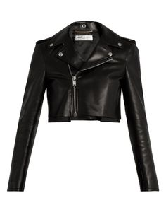 SAINT LAURENT Cropped Leather Jacket. #saintlaurent #cloth #jacket