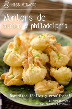 comida china Wontons de surimi y philadelphia - Miss Vinagre Asian Recipes, New Recipes, Cooking Recipes, Favorite Recipes, Healthy Recipes, Ethnic Recipes, Wan Tan, Wontons, China Food