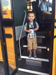 First day of Pre-K. He's stoked to be on a big kid bus! 9/3/15