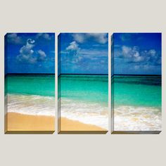 Bottom of the Sea - Beach, Sand, Water, Blue Sky, Turquoise, Clouds, Barbados, Triptych, 3 Panel, Canvas Art, Office Decor, READY TO HANG