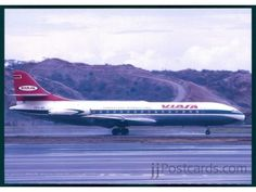 Sud Aviation SE 210 Caravelle III (YV-C-AVI, c/n of VIASA. Damaged when wing struck ground on landing at Barquisimeto on August Sud Aviation, Air Machine, Airplanes, Landing, Aircraft, Commercial, Vehicles, Classic, Photography
