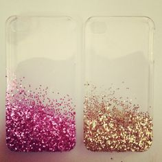 Buy a clear phone case then put white glue on the place you want sparkles and add sparkles to where the glue is. let it dry and then you have a home made cell phone case