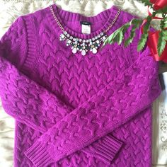 J.Crew Fuschia Cable-Knit Sweater Reposh. J.Crew cable-knit sweater. From the holiday 2011 collection. No pulls or signs of wear. Great condition.  PayPal/Merc Low Balling Trades  Price negotiable! Use the offer button! J. Crew Sweaters Crew & Scoop Necks