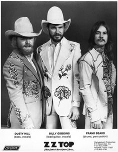 """ZZ Top in their Nudie suits which the band also wore in the cover photo for their 1975 album """"Fandango"""" Billy Gibbons, Kinds Of Music, Music Is Life, My Music, Music Stuff, Rock Roll, Frank Beard, Historia Do Rock, Texas Music"""