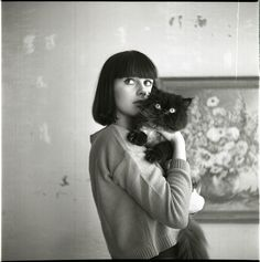 I think I found this on Miss Moss, but I can't remember who took it. Crazy Cat Lady, Crazy Cats, Black Bob, Black And White, She And Her Cat, Cat Photography, Cat People, Cat Lovers, Short Hair Styles