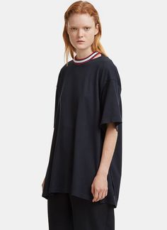 Facetasm Oversized Open Back Ribbon Tied T-shirt In Navy Tied T Shirt, Velvet Ribbon, Tees, Shirts, Women Wear, Cotton, Shopping, Clothes, Navy