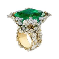 This gold ring is set with a Colombian emerald, white and colored diamonds and 912 natural pearls Colombian Emeralds, High Jewelry, Jewelry Trends, Personalized Jewelry, Artisan Jewelry, Indian Jewelry, Colored Diamonds, Jewelery, Vintage Jewelry