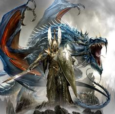 Elf lord and mighty Dragon by ?