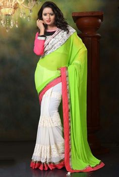 Appealing Off White and Lime Green Saree http://ethanica.myshopify.com/products/appealing-off-white-and-lime-green-saree #Offer #sarees #partywearsarees