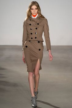 Altuzarra - New York Fashion Week A/W 2013 - An update on the classic trench into two separate pieces - a side split pencil skirt and short jacket