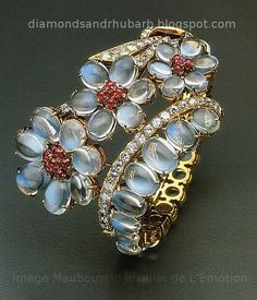 Bracelet Mauboussin gold, moonstones, rubies, and diamonds | Diamonds and Rhubarb ®