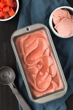 Sweet Watermelon Sorbet made with only 3 ingredients. You'll crave this on a hot summer day.