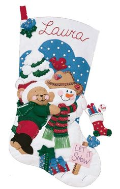 "Bucilla 18"" Christmas Felt Stocking Kit ""Teddy Bear Snowman"" Stocking Bird New 
