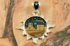 Starry Night in the Pueblo Design with a view of Monument Valley. Designed by Navajo Artist Calvin Begay. Signed by the artist.