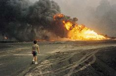 GULF WAR, KUWAIT. Burning oil fields. The ecological landscape of Kuwait and the Persian Gulf was severely damaged when Iraqi forces set fire to 789 oil wells.