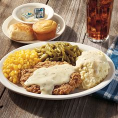 Choose homemade buttermilk biscuits as a side for your favorite Cracker Barrel meal like Country Fried Steak with Mashed Potatoes and Biscuits n' Gravy.