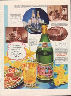 """The full dimensions of the advertisement are approximately 11"""" x 14"""". This original vintage advertisement is in Very Good Condition unless otherwise noted.Canada Dry is a brand of soft drinks marketed by Dr Pepper/Seven Up, a unit of Dr Pepper Snapple Group. Canada Dry is best known for its ginger ale, but also manufactures a number of other soft drinks and mixers. Although Canada Dry originated in its namesake country, Canada, it is now produced in many countries around the globe, and is…"""