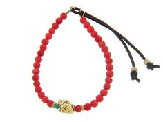 Coral Stardust Bracelet with Usagi in Yellow Gold by Catherine Michiels